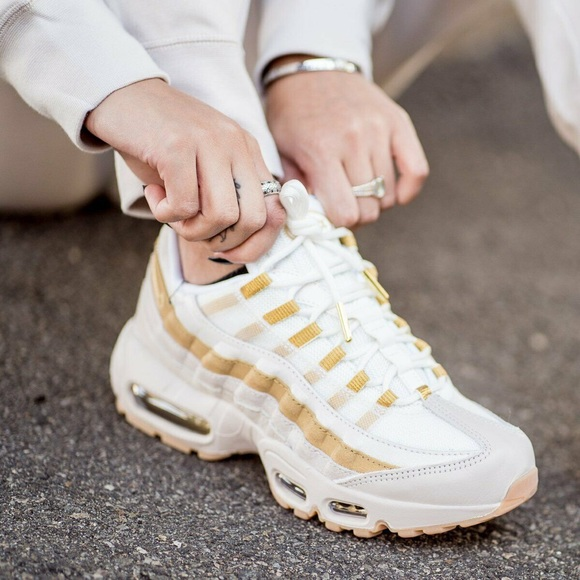 the best latest fashion premium selection Women's Nike Air Max 95 White + Gold Sneakers NWT